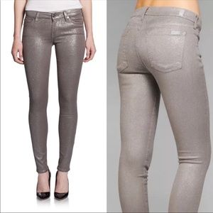7 for all mankind skinny silver gray glitter jeans